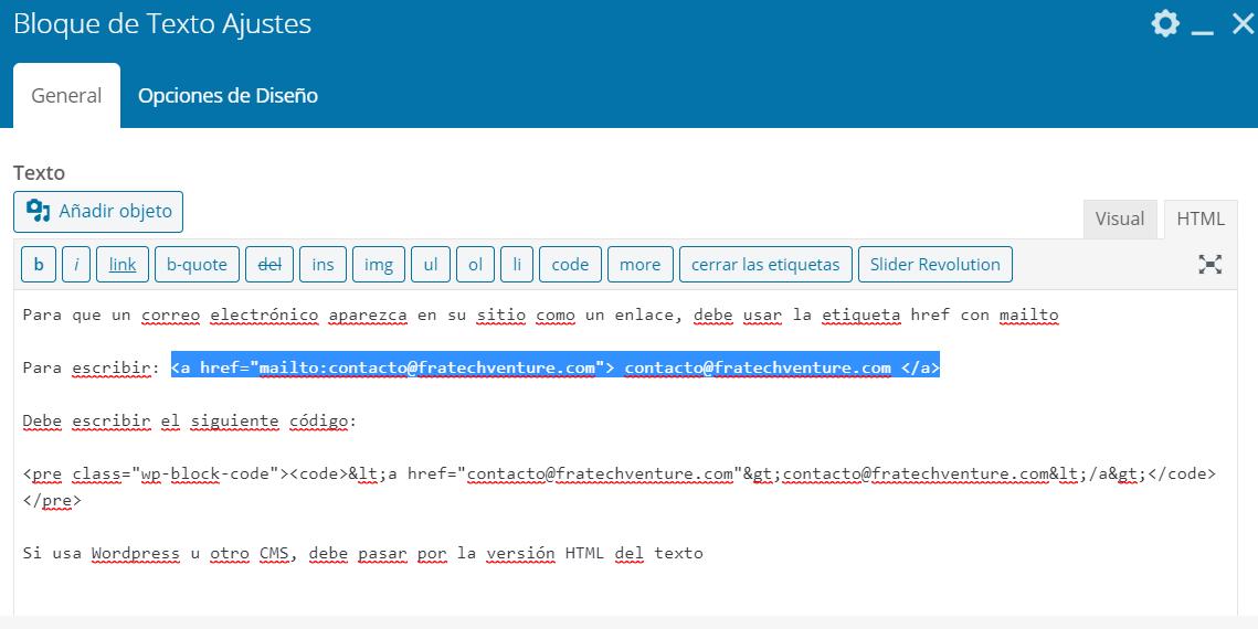 html wordpress mailto