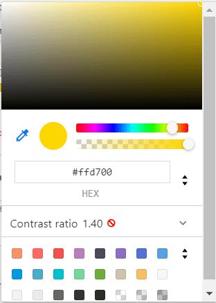 inspector codigo color letra HTML